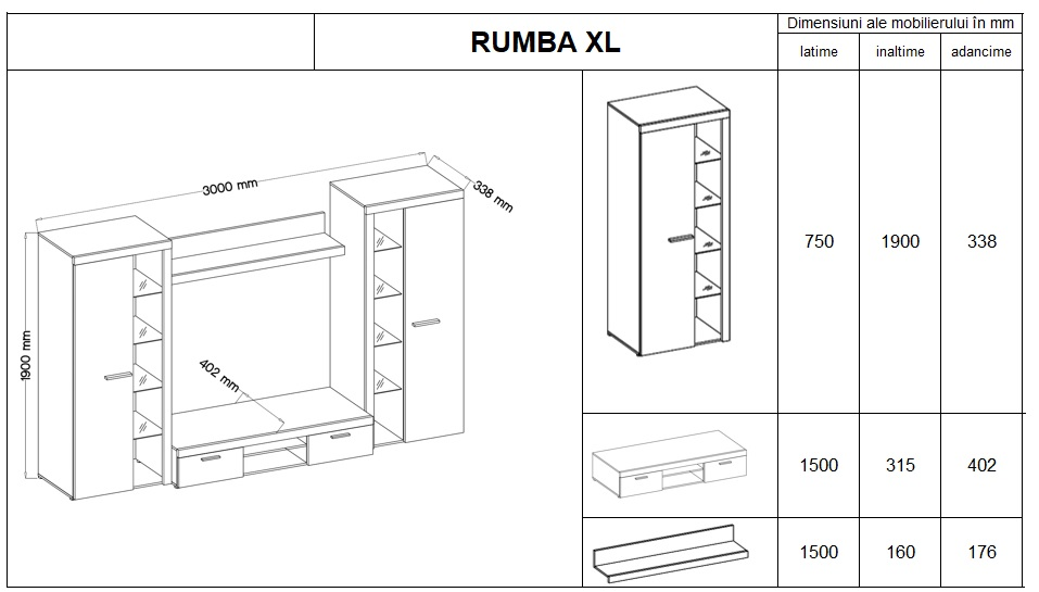 Living Rumba XL Alb/Gri Beton
